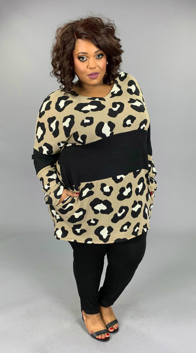 CP-B {Always A Lady} SALE!!  Taupe Leopard Contrast Knit Tunic Extended Plus 3X 4X 5X 6X