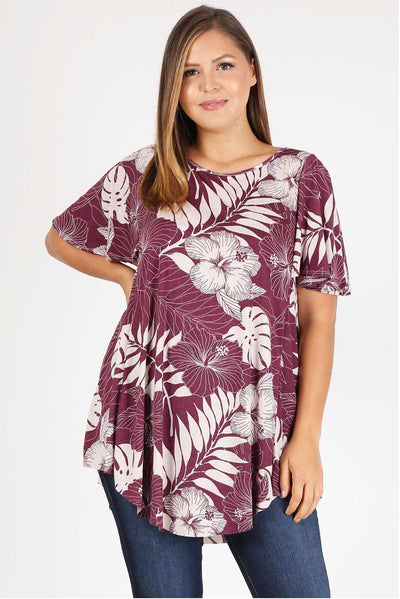 PSS-P {Good News} Plum/White Floral Print Top Extended Plus