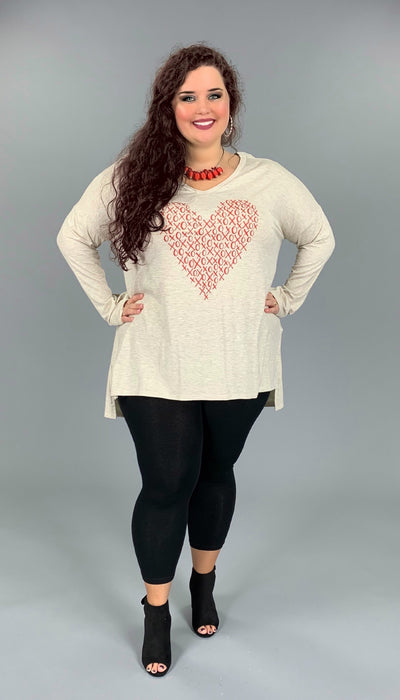 "GT-F {Love Always} SALE!! Long Sleeve Printed Top with ""XOXO"" Heart"
