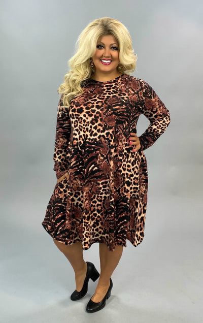 PLS-X {Anywhere With You} Mauve Leopard Snakeskin Knit Dress EXTENDED PLUS SIZE 3X 4X 5X