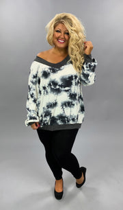 OS-M {Full Of Mystery} Charcoal & Ivory Tie Dye Off Shoulder Top EXTENDED PLUS SIZE 3X 4X 5X