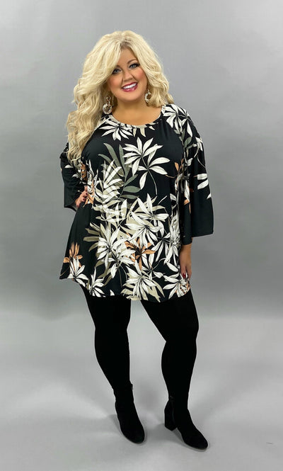 33 PQ-J{The Mighty Jungle} Black Ivory Bamboo Print Tunic Plus Size 1X 2X 3X