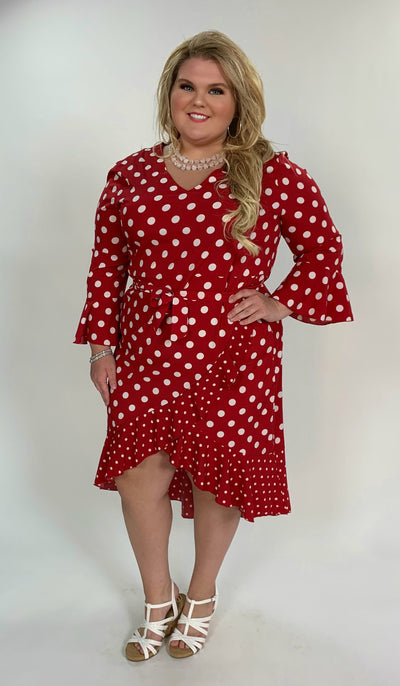 LD-D {Oh Happy Day} Red Polka-Dot Hi-Lo Dress with Belt Extended Plus
