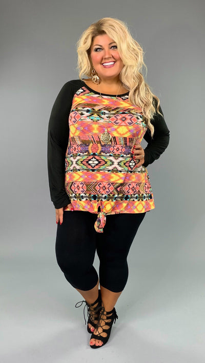 CP-K {Off The Wall} Aztec Print Contrast Top Front Tie