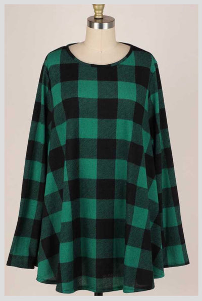 PLS-A {Emerald Isle} Green & Black Plaid Knit Tunic EXTENDED PLUS SIZE 3X 4X 5X