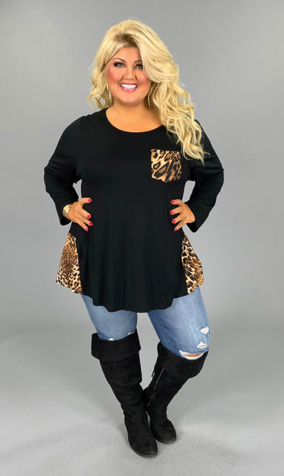 CP-L {The Way You Move} Black Tunic with Leopard Contrast EXTENDED PLUS SIZE 4X 5X 6X SALE!!