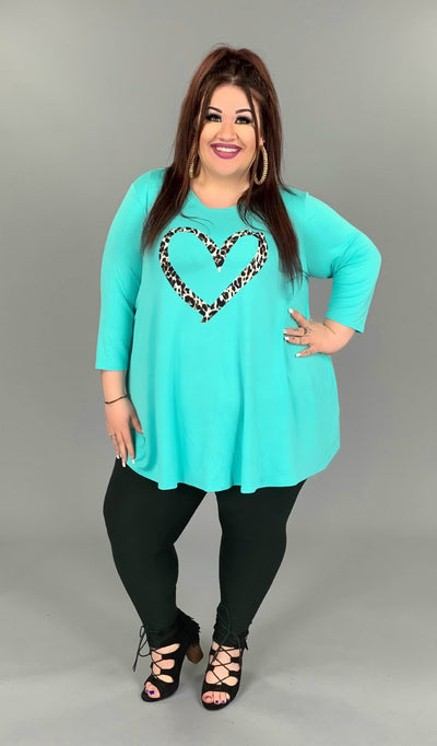 GT-R {Choose Love} Aqua Top With Leopard Heart 3/4 Sleeve EXTENDED PLUS SIZE 3X 4X 5X 6X