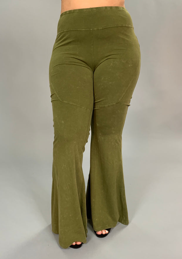 "BT-P ""UMGEE"" Olive Prewashed Cotton Flared Leg Pants PLUS SIZE"