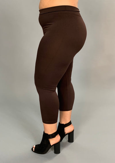 BT/B -YELETE Brown Capri Leggings (92 Poly 8 Spandex) PLUS SIZE
