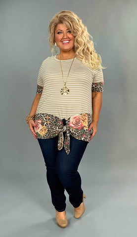 CP-T {Fearless Attitude} Tan Striped Top with Leopard Floral Detail
