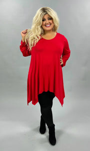 28 SLS-H {Think Basic} Red A Symmetrical Tunic  CURVY BRAND EXTENDED PLUS SIZE 3X 4X 5X 6X