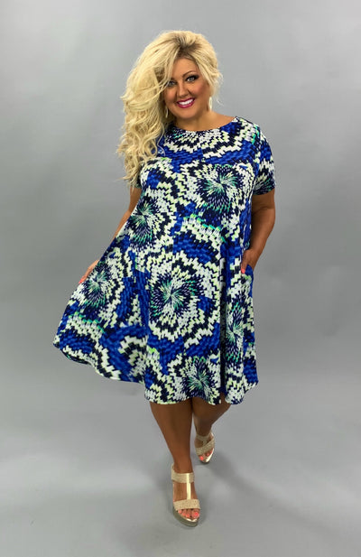 PSS-C {Shattered} Blue/Lime/Ivory Printed Dress EXTENDED PLUS SIZE 3X 4X 5X
