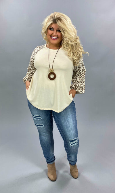 CP-P {Truly Tempting} Ivory & Mocha Leopard Sleeve Soft Knit Top PLUS SIZE XL 2X 3X
