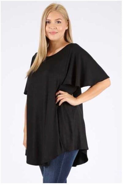 SSS-L {Don't Fake It} Solid Black Flutter Sleeve Tunic EXTENDED PLUS SIZE 3X 4X 5X