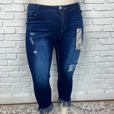 BT-L {Red Bottoms} Stretchy Jeans with Frayed Fringed Hem