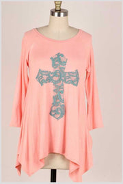32 GT-D {Don't Cross Me} Peach Teal Cross Detail Top PLUS SIZE XL 2X 3X