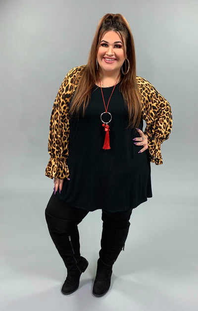 CP-L {Ever So Sweet} Black Tunic Leopard Print Sleeves