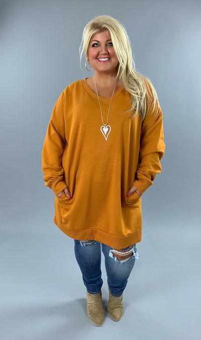 SLS-N {Just Perfect} Desert Mustard V-Neck Long Sweatshirt Pockets