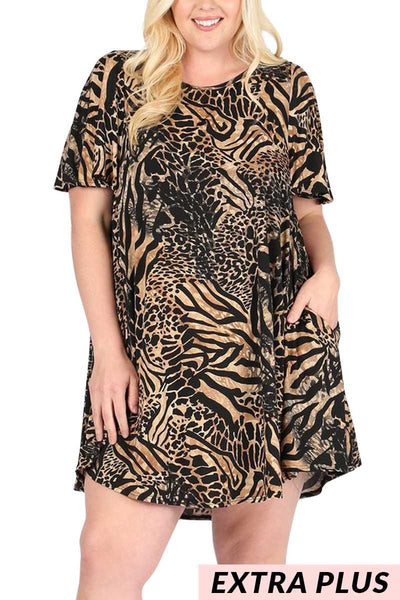 PSS-H {Nothing To Hide} Animal Print Dress EXTENDED PLUS SIZE 3X 4X 5X