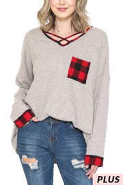 10-09 CP-F {Cute And Cozy} Grey Red Plaid Neck Detail Tunic PLUS SIZE XL 2X 3X
