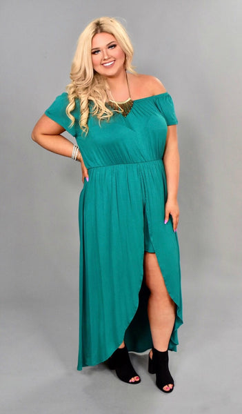 RP-S {Strolls On The Beach} Emerald Shorts-Dress Romper