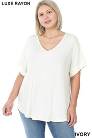 58  SSS-A {Hint of Ivory}  Ivory V-Neck Short Cuffed Sleeve Tunic