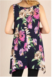 SV-Z {Made From Love} Navy Floral Sleeveless Tunic PLUS SIZE 1X 2X 3X SALE!!