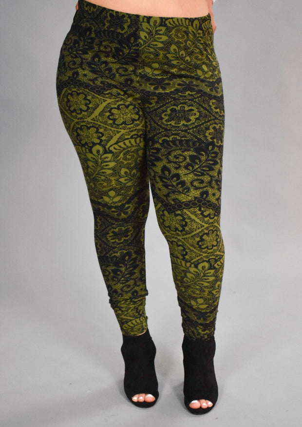 BT/E- {You're Gonna Love These} Black & Olive Leggings EXTENDED PLUS SIZE