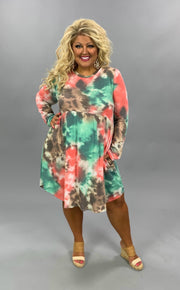 PLS-V {Stay Humble} Pink, Aqua, Brown Tie Dye Babydoll Dress PLUS SIZE 1X 2X 3X