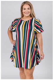 PSS-C {Charming Lady} Multi Color Vertical Stripe Tunic *SALE!!* PLUS SIZE 1X 2X 3X