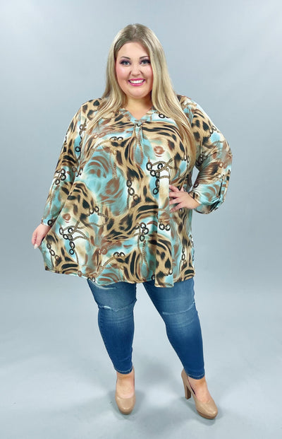 55 PQ-A {My Only Obsession}  Blue Mocha Chain Printed Tunic EXTENDED PLUS SIZE 4X 5X 6X