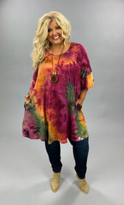 PQ-R {Don't Let Me Fall} Mulberry Mustard Tie Dye Dress BUTTER SOFT CURVY BRAND EXTENDED PLUS SIZE 3X 4X 5X 6X