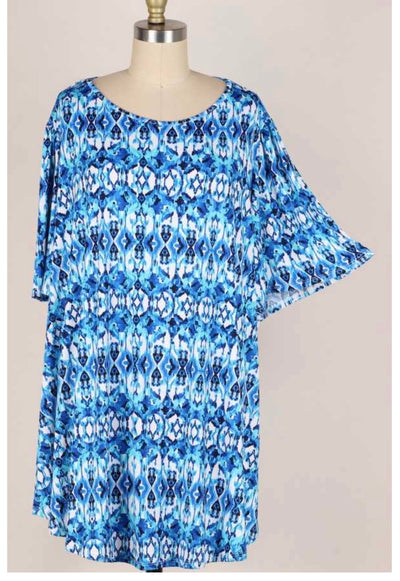 65 PSS-P {Oceanic Wonder} Blue Aqua Printed Tunic EXTENDED PLUS SIZE 3X 4X 5X
