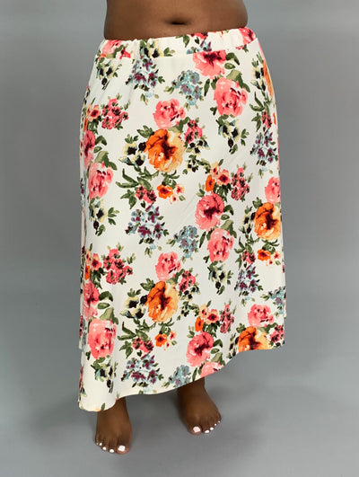BT-B {Positive Look} Stretchy Ivory Floral Print Skirt SALE!!