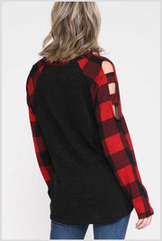 37 OS-A {Evening Away}  SALE!! Black Red Plaid Cut Sleeve Top PLUS SIZE XL 2X 3X