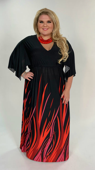 LD-F {Topic Of Gossip} Black Maxi Dress with Colorful Flames  Extended Plus