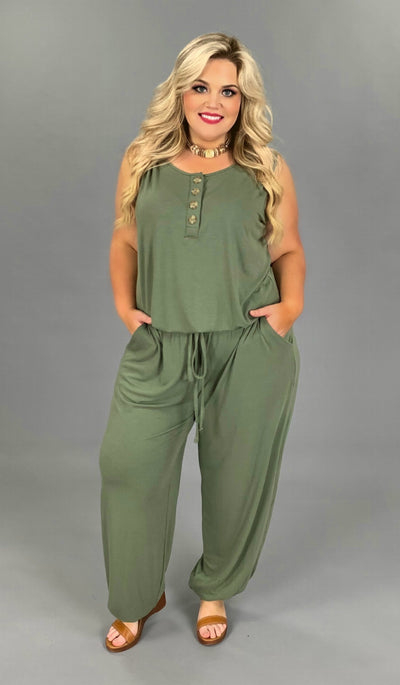 RP-G {All For One} Olive Jumpsuit with Button Detail/Elastic Waist & Ankle PLUS SIZE 1X 2X 3X