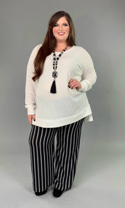 SLS-A {You Sang To Me} White Waffle Knit Top with Split Sides PLUS SIZE 1X 2X 3X SALE!!