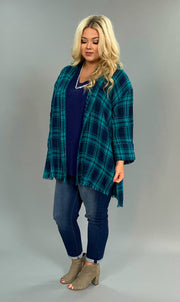 "PQ-Z ""UMGEE"" Navy/Teal Plaid Oversized Top with Side Slits"
