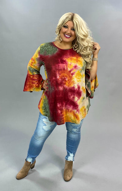 PQ-F {Wish You Well} Mustard Maroon Tie Dye Bell Sleeve Tunic BUTTER SOFT EXTENDED PLUS SIZE 3X 4X 5X
