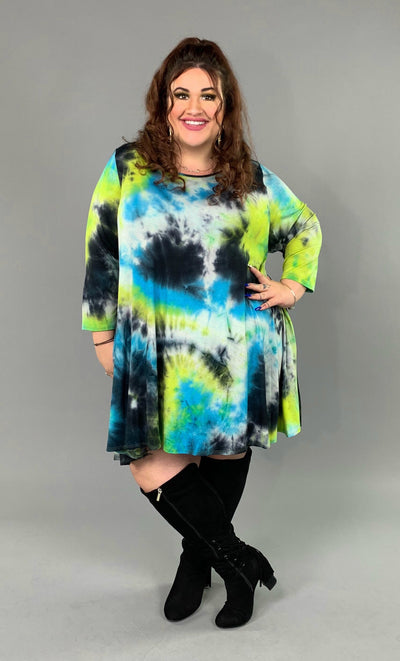PQ-D {Break The Ice} Tie-Dye Print Dress with Pockets