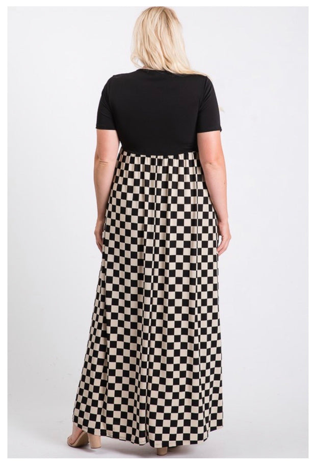 LD-C {Checker Board} Black/Cream Checkered Print Maxi Dress PLUS SIZE 1X 2X 3X