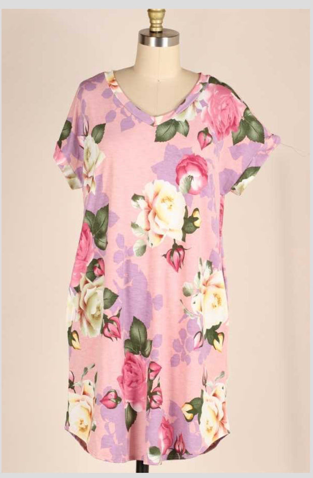PSS-G {Feeling Beautiful} PInk Purple Floral Print Dress EXTENDED PLUS SIZE 3X 4X 5X
