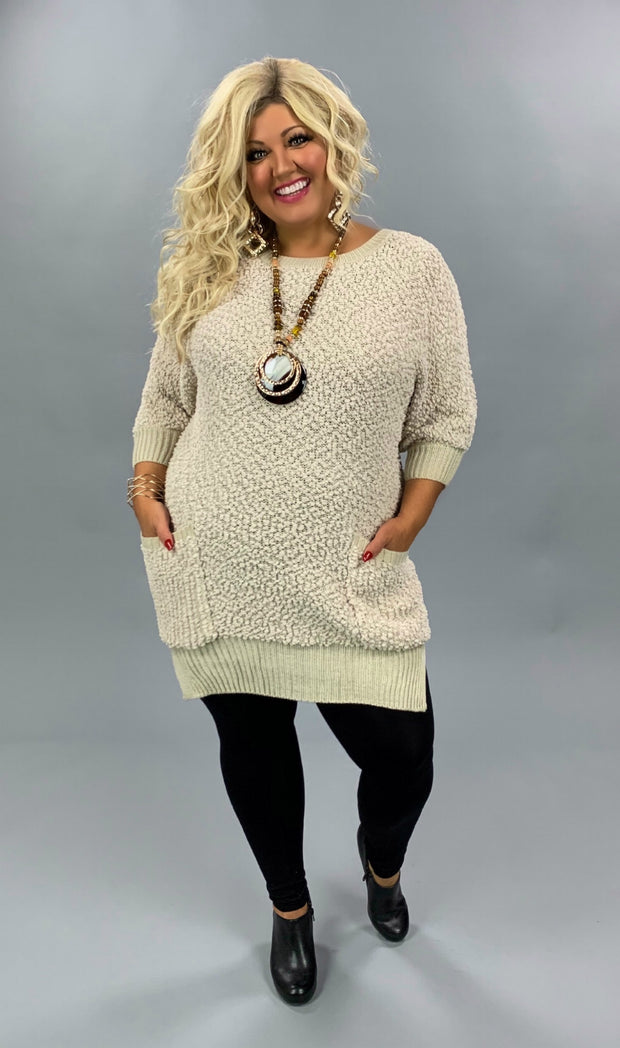 "SQ-Q ""UMGEE"" Long Popcorn Sweater with Front Pockets SALE!!"