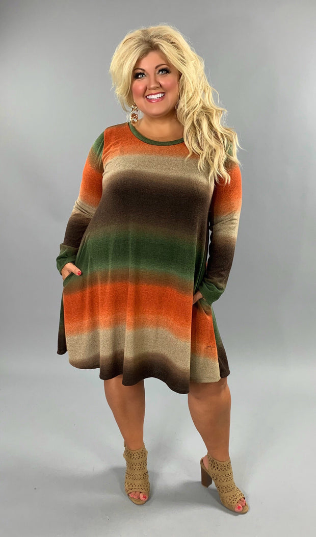 PLS-T {The Lost World} Rust/Green Gradient Knit Dress