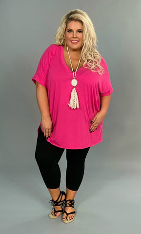 SSS-X {Admit One} Fuchsia V-Neck Top with Cuffed Sleeves