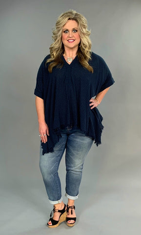 "PSS-W {Summer Picnic} ""UMGEE"" Navy Tunic with Frayed Hem"