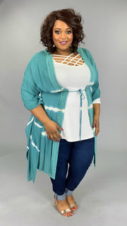 OT-C {Humble & Kind} Aqua Cardigan with Crochet Detail