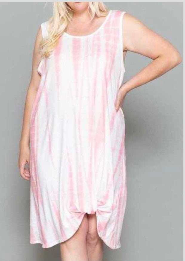 65 LD-A {Cancun Ready} Pink Ivory Bamboo Tie Dye EXTENDED PLUS SIZE 4X 5X 6X