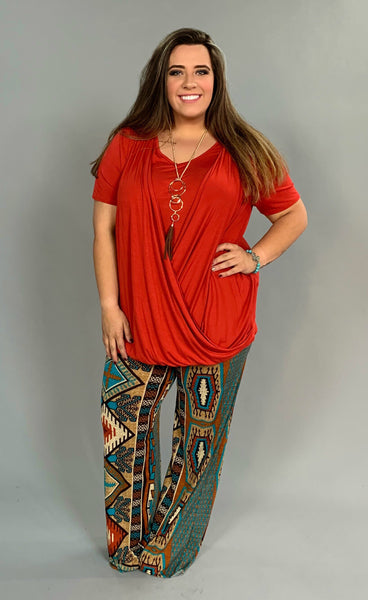 SSS-X {Go Figure} Tomato Red V-Neck Top with Overlap Detail